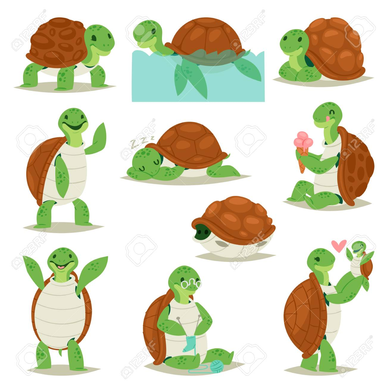 Turtle Vector Cartoon Seaturtle Character Swimming In Sea And