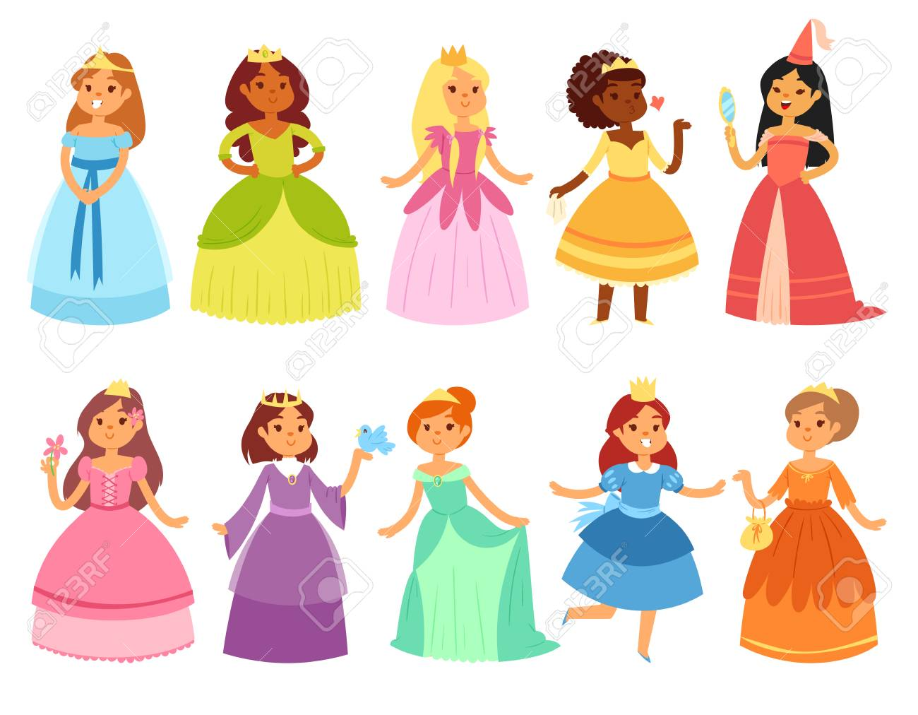Princess vector little girl character in beautiful girlish dress..