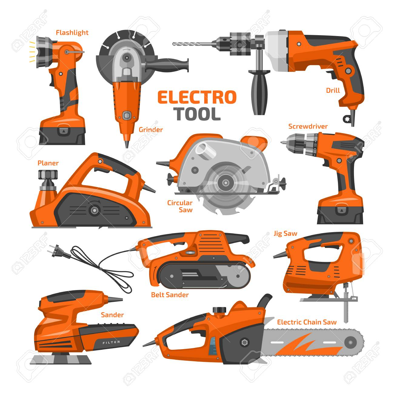 Power tools vector electric construction equipment power-planer