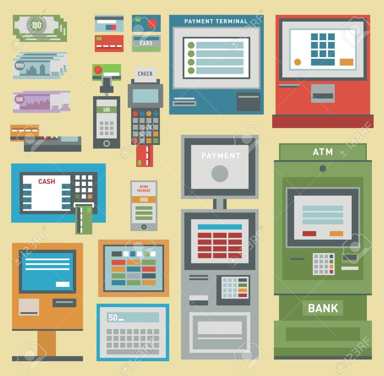 ATM money pos-terminal hand credit card icons. - 126978260