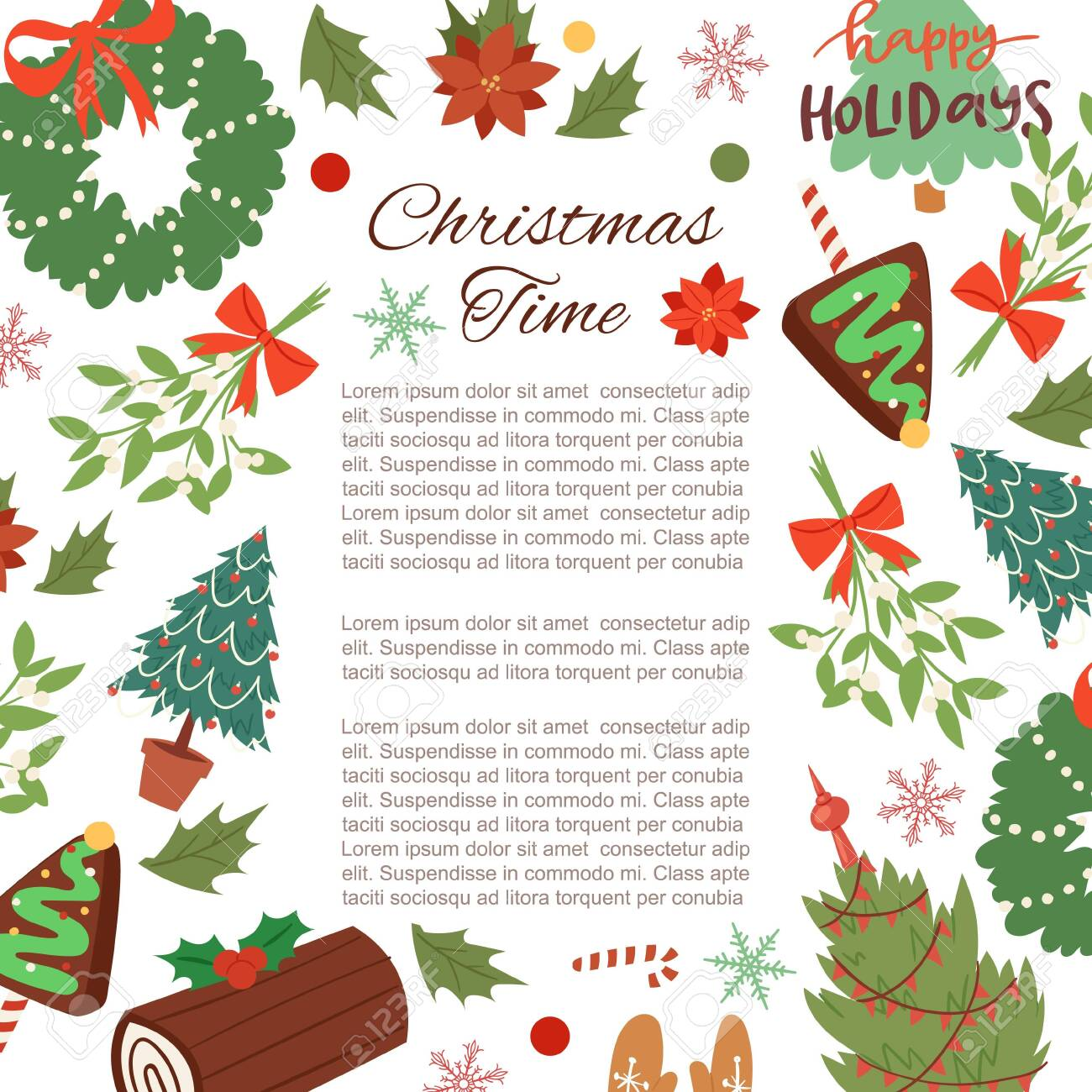 Christmas frame cartoon vector illustration. Winter holidays background with pine branches, berries, holly and mistletoe wreath with ribbons and fir trees. Botanical christmas frame with typography. - 133832695
