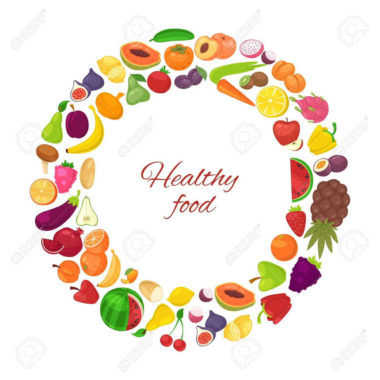 Healthy food with organic fruits and vegetables in circle isolated on white background vector illustration poster. Vegeterian fruits and veggie diet healthy food carrot, banana, oranges and lemon. - 138357267