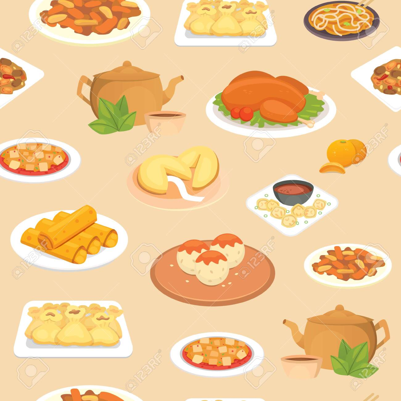 Chinese Food Oriental Street Restaurant Or Homemade Food Seamless Royalty Free Cliparts Vectors And Stock Illustration Image 143263357