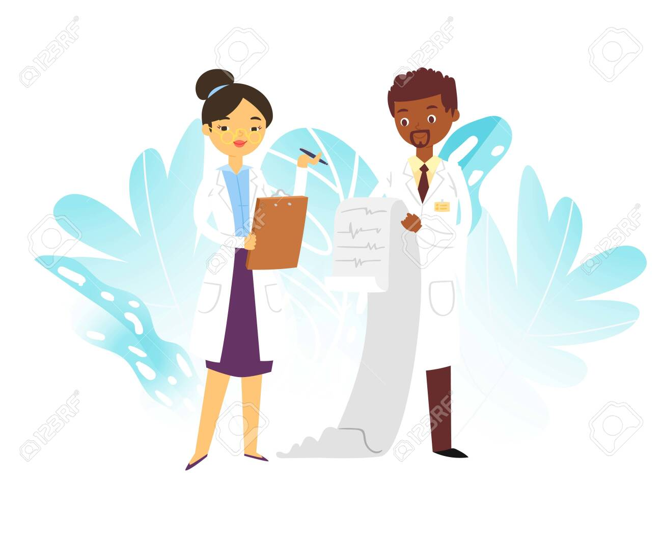 Hospital medical doctors male and female medicine workers physicians with stethoscope and cardiogramme, paramedics isolated on white vector illustration. Doctors professional team. - 146878269