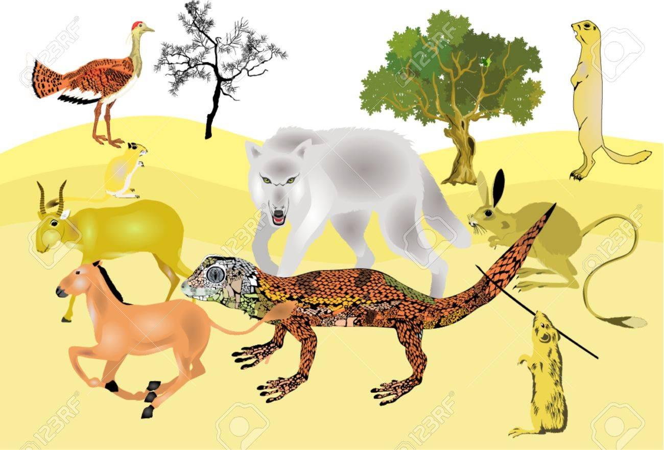 砂漠に住む動物集合します。 ロイヤリティフリークリップアート