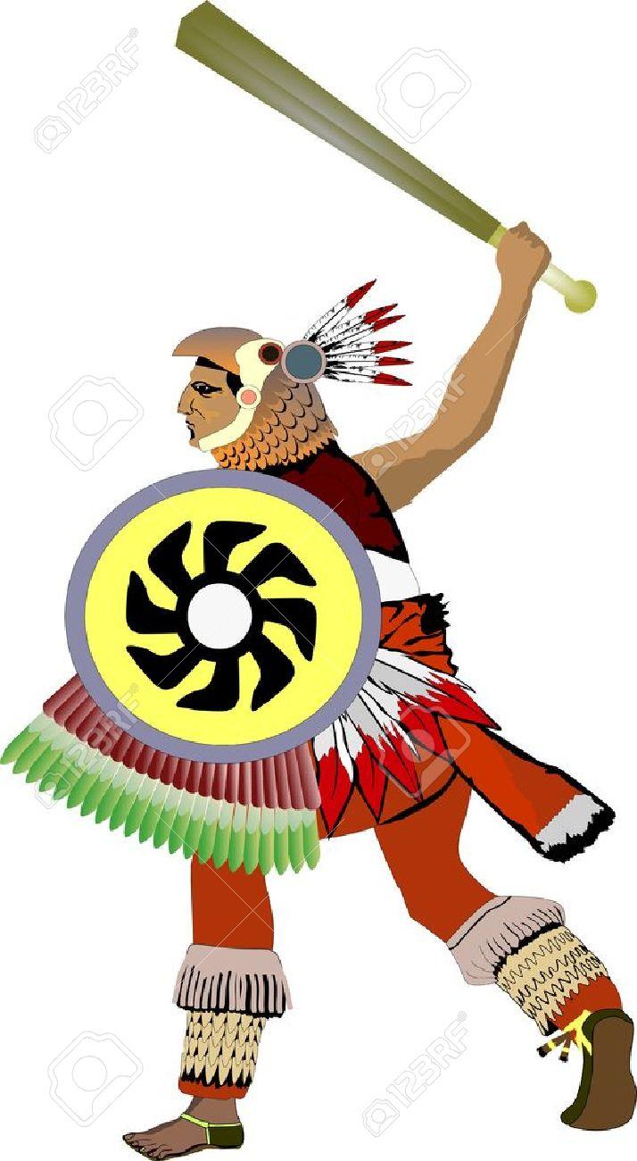 Aisló El Guerrero Azteca Antigua Ilustración Ilustraciones