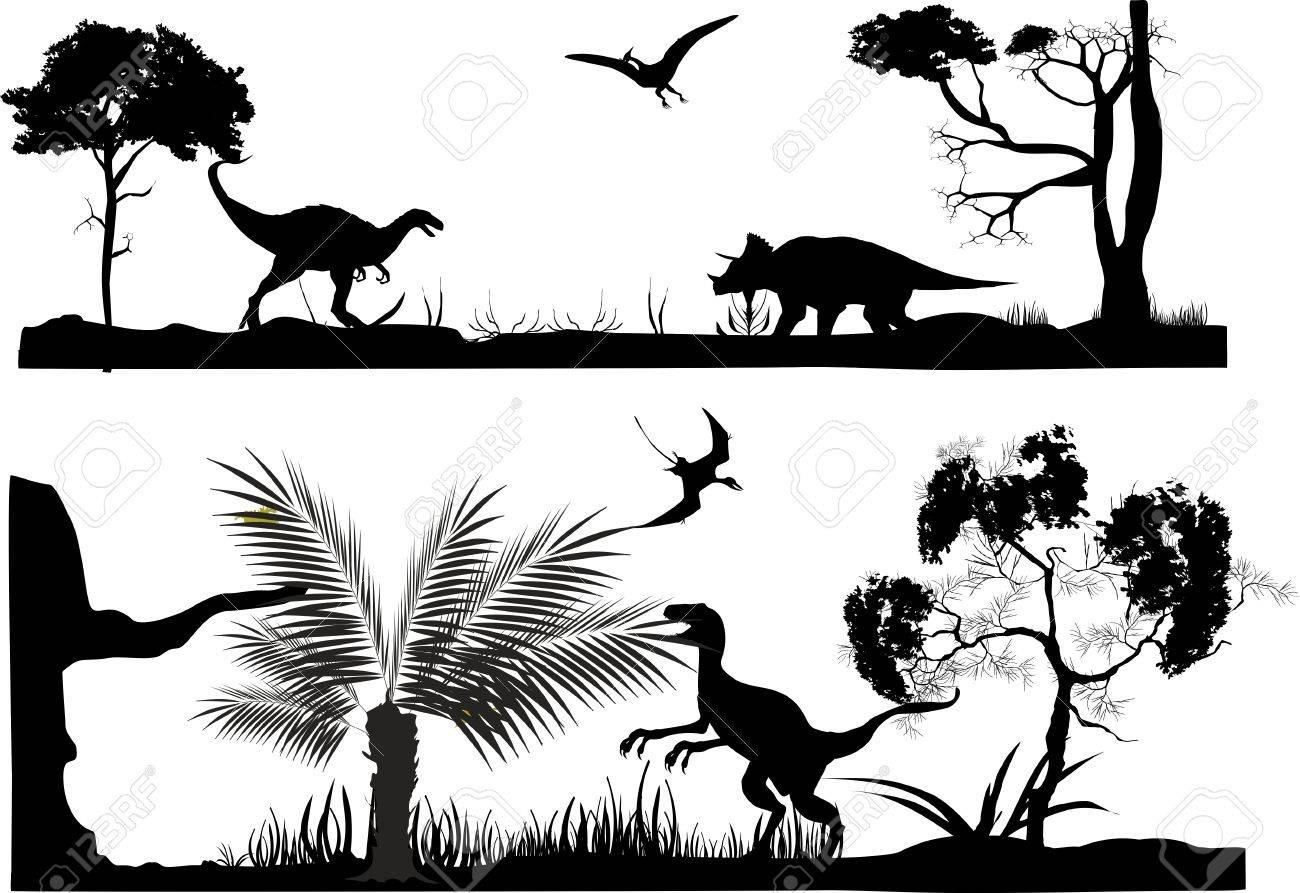 古代突起の伸長野生動物の場面の白黒の水平ベクトル シルエット イラスト