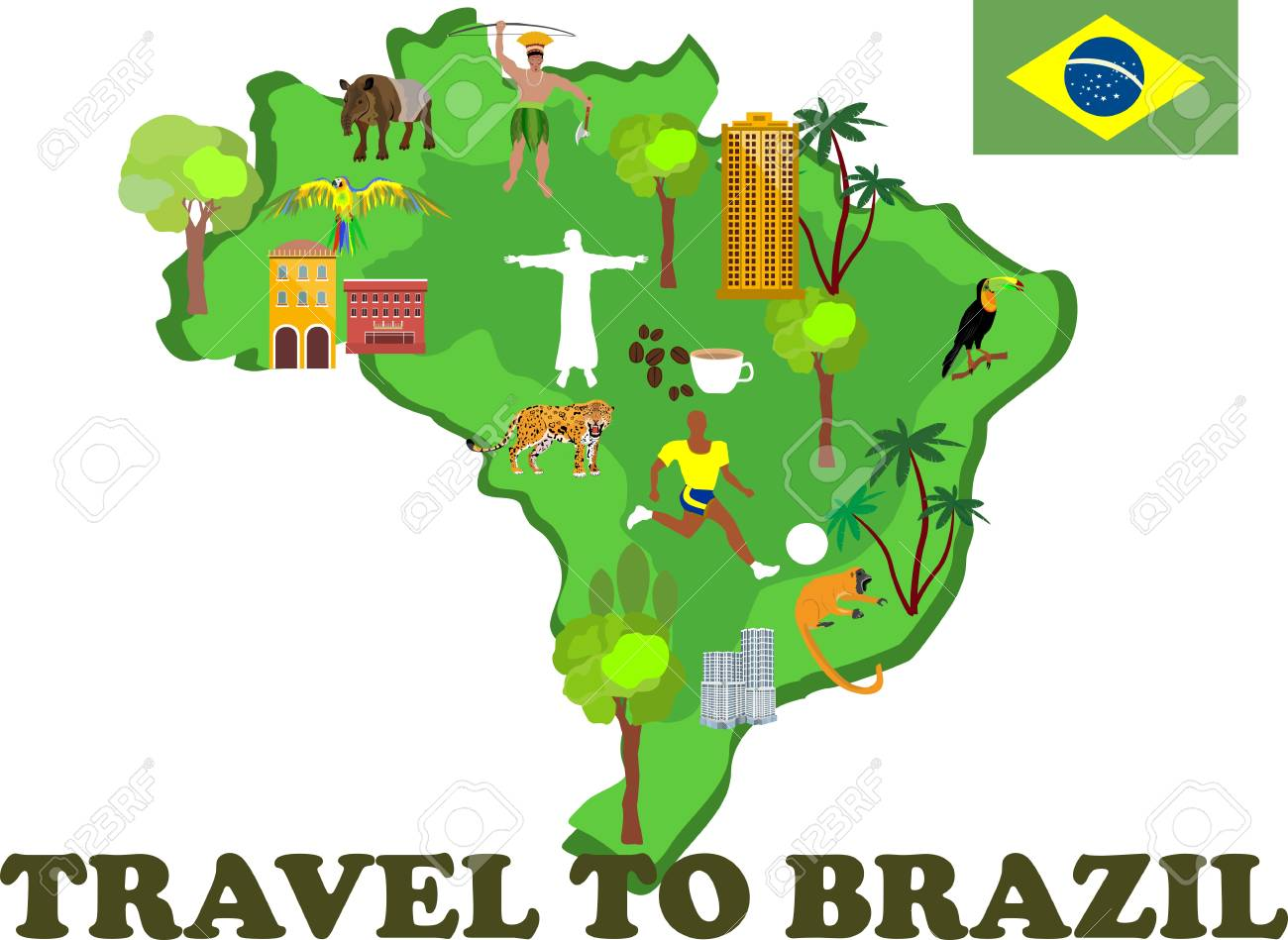 Map Of Brazil With Country Attractions And Tourist Sites Vector