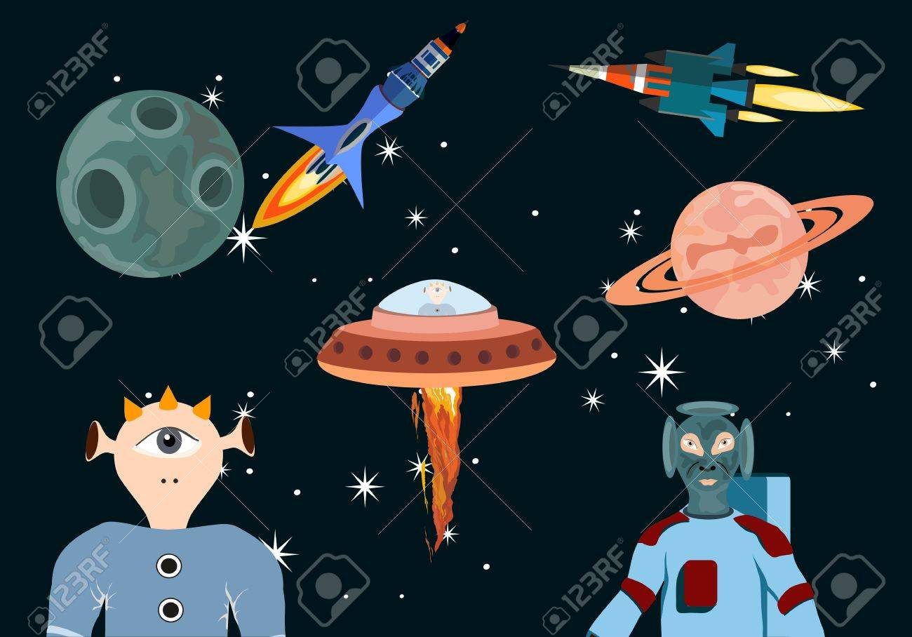 space objects set and alliens persons vector illustration stock vector 82162847