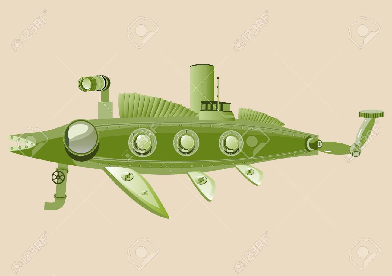 Mechanical Green Color Fish, Concept Vector Illustration Royalty ...