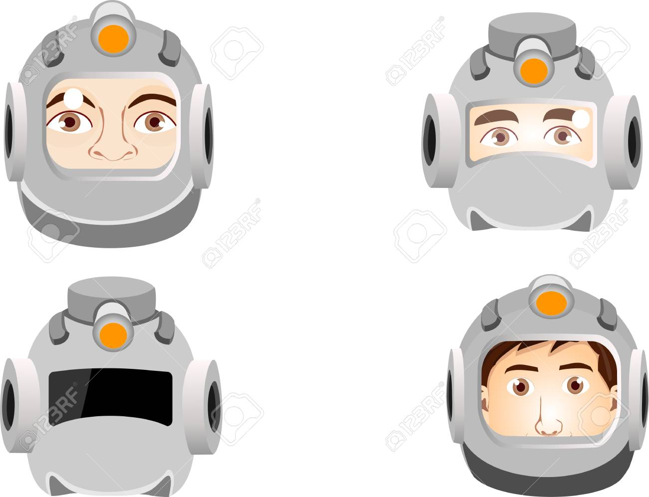 Human heads in space suits, isolated vector illustration  Portraits
