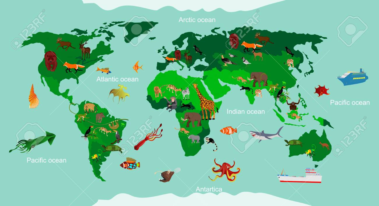 Animals World Map Educational Animals Different Species Continent