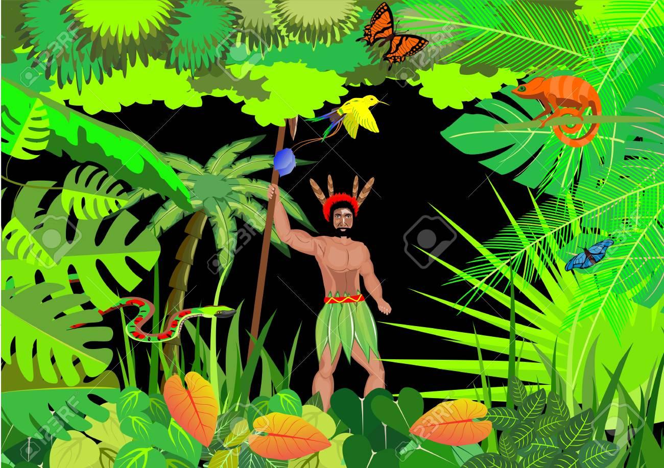jungle vector scene background wildlife theme chameleon Клипарты