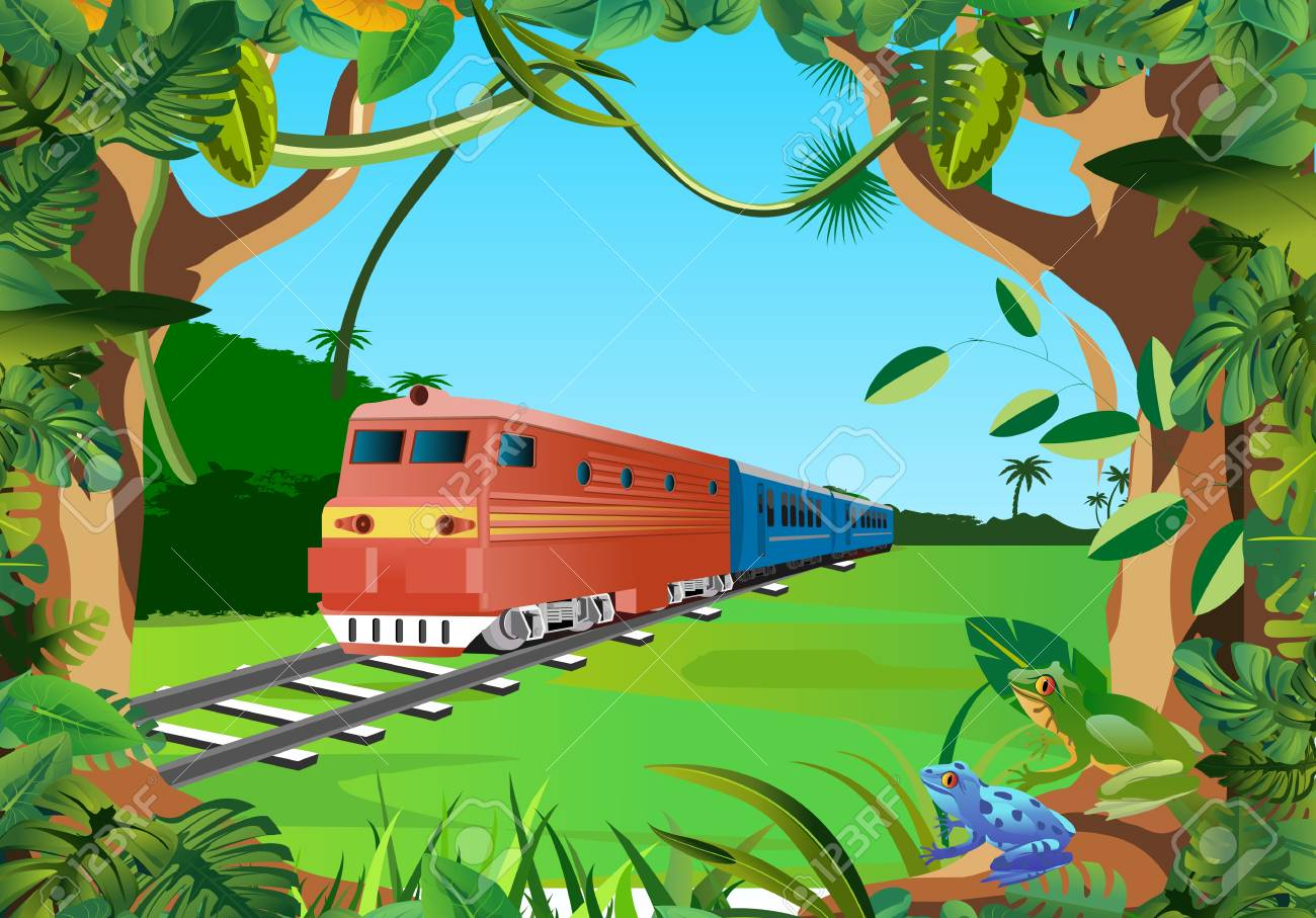 trains in the jungle, floral frame vector - 121468614