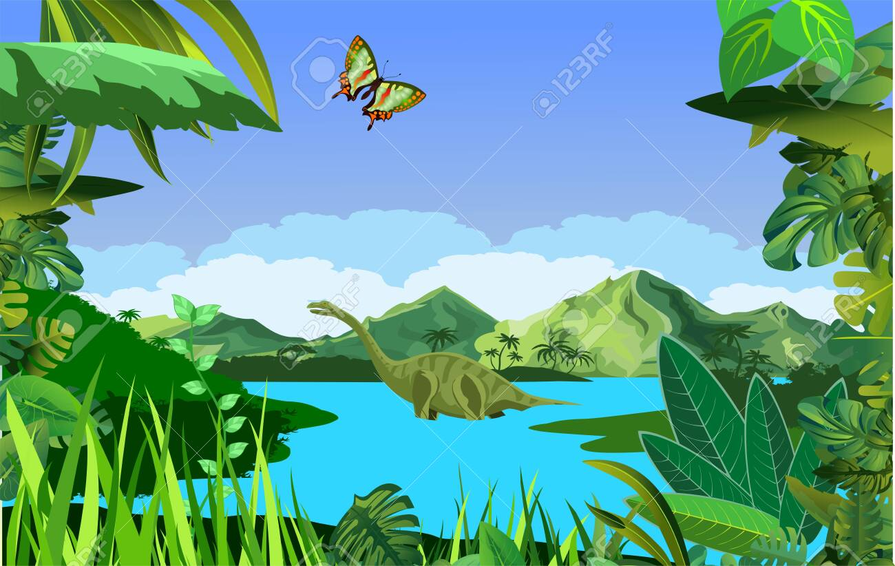 A High Quality Background Of Prehistoric Landscape With Dinosaurs Royalty Free Cliparts Vectors And Stock Illustration Image 129262021