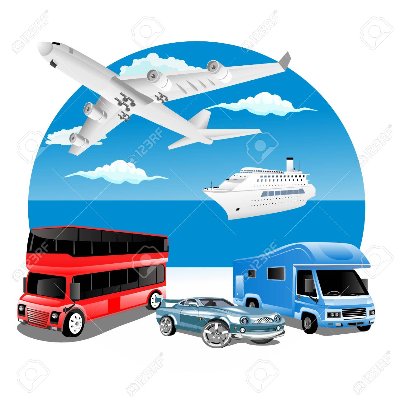 logistics business concept with delivery transport vehicles and ocean in background - 136785415