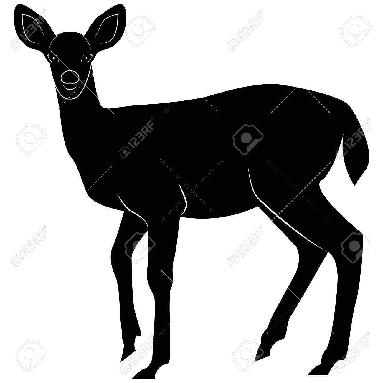 Vector image of a silhouette fallow deer for retro logos, emblems,