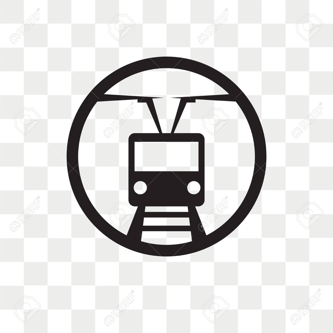 Tram stop vector icon isolated on transparent background, Tram