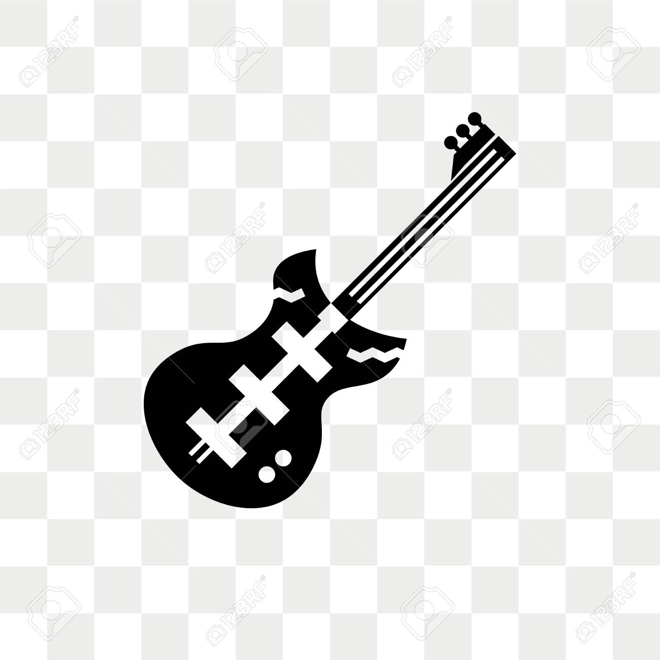 Electric Guitar Vector Icon Isolated On Transparent Background