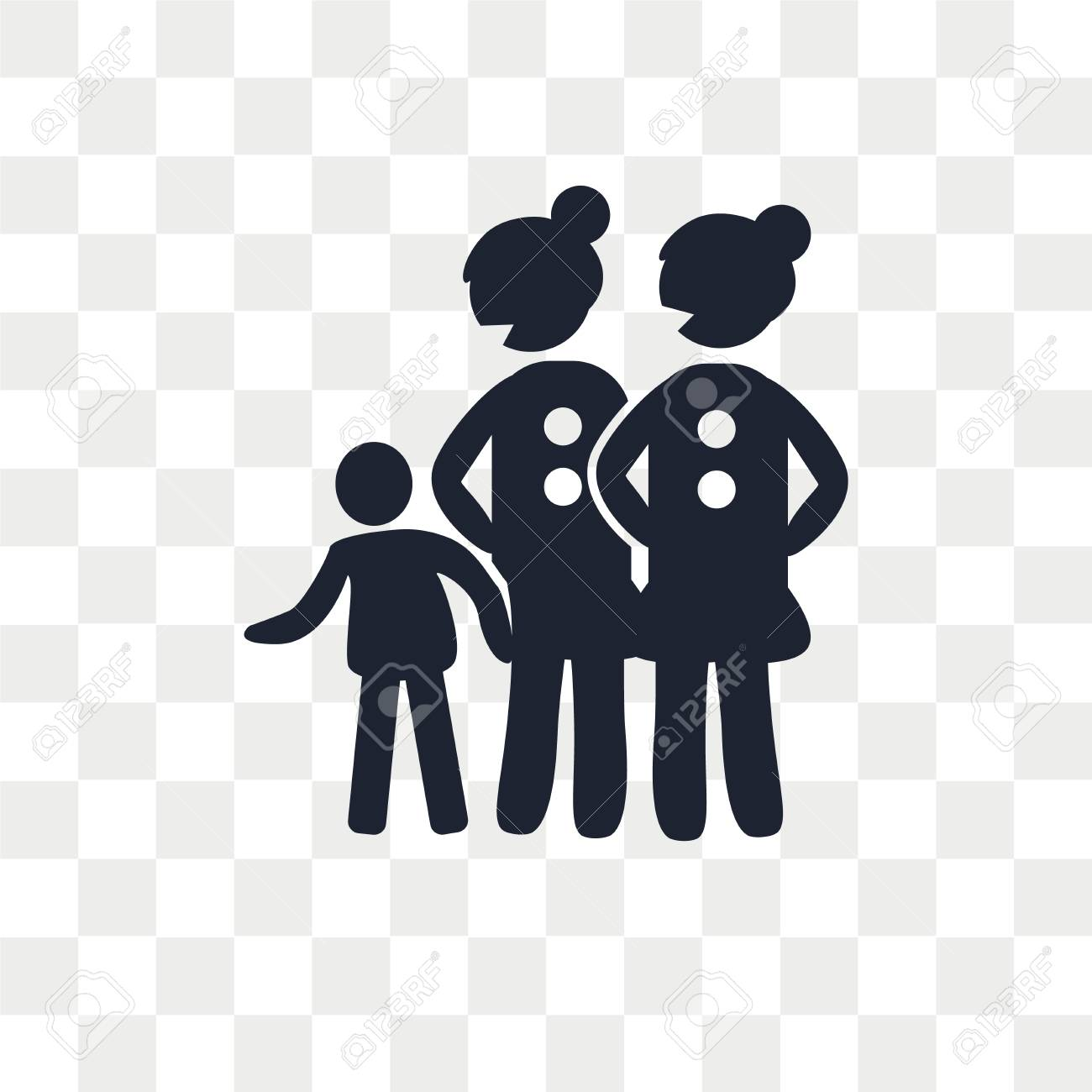 Lesbian Couple and Son vector icon isolated on transparent background,  Lesbian Couple and Son logo