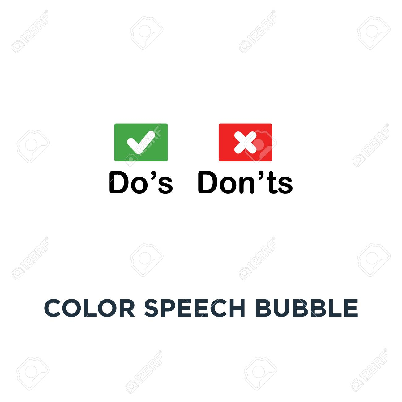 color speech bubble like dos and donts icon symbol of checklist