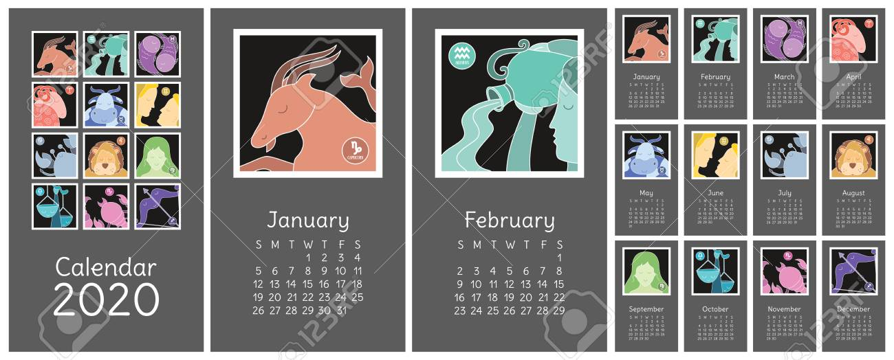Horoscope Calendar 2020 Calendar 2020. Zodiac Signs: Aquarius, Libra, Leo, Taurus, Cancer