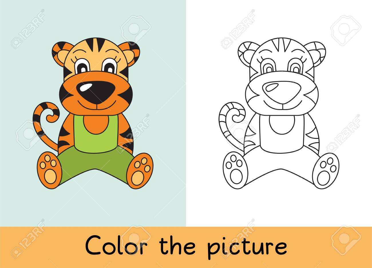 Coloring Book Tiger Cartoon Animall Kids Game Color Picture