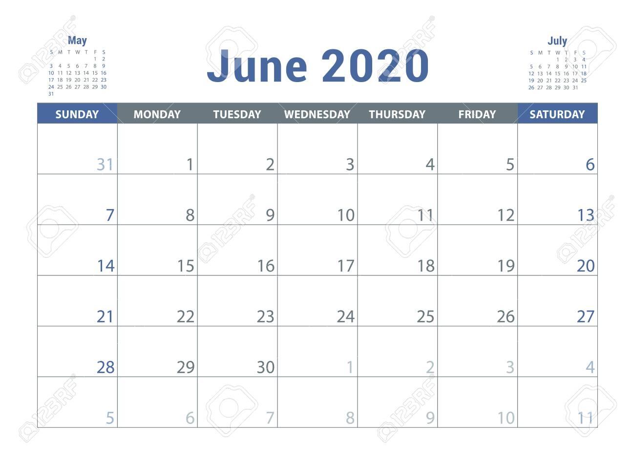 June 2020 Calendar. English Planner. Ð¡olor Vector Template. Week Starts On  Sunday. Business Planning. New Year Calender. Clean Minimal Table. Simple  Design Lizenzfrei Nutzbare Vektorgrafiken, Clip Arts, Illustrationen. Image  129897510.