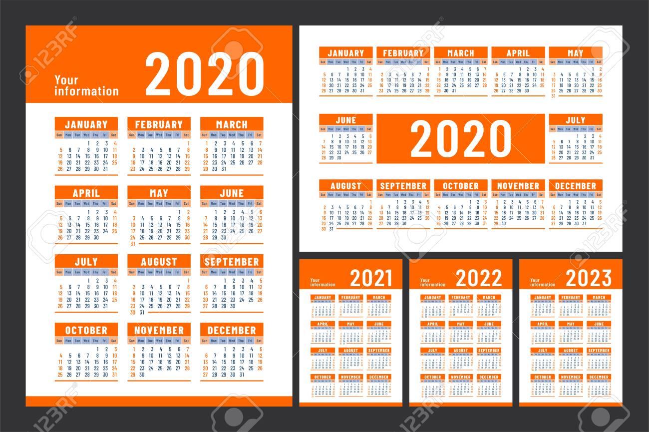 Big Calendar 2022.Calendar 2020 2021 2022 And 2023 English Color Vector Set Royalty Free Cliparts Vectors And Stock Illustration Image 129897560
