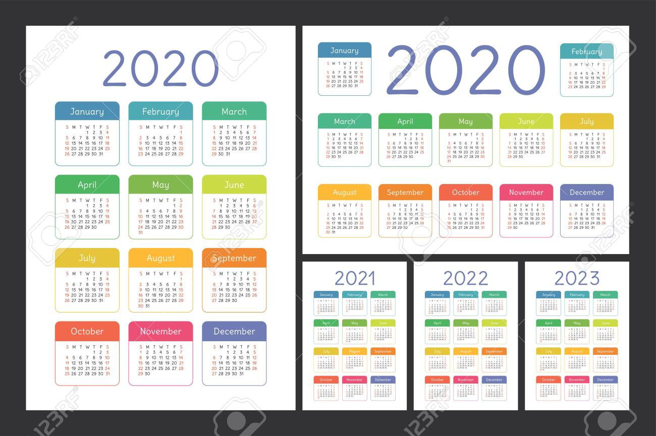 Kids Calendar 2022.Calendar 2020 2021 2022 And 2023 English Color Vector Set Royalty Free Cliparts Vectors And Stock Illustration Image 129897575