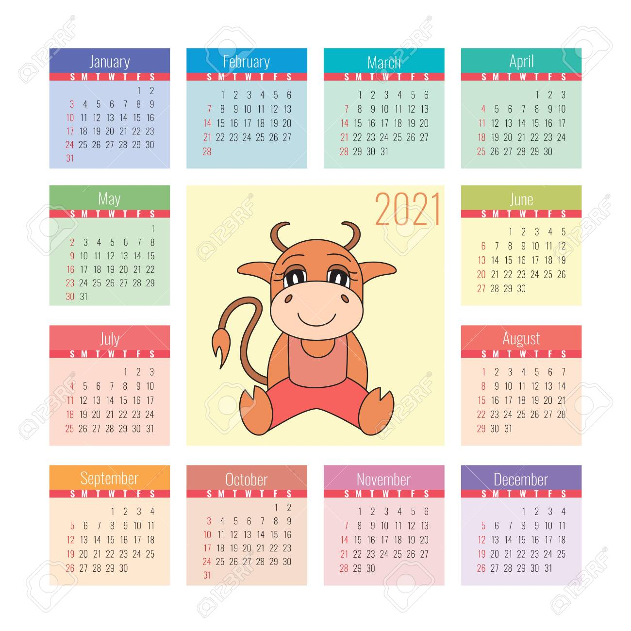 Calendar 2021. Ox Symbol Of The New Year. Vector Design Template
