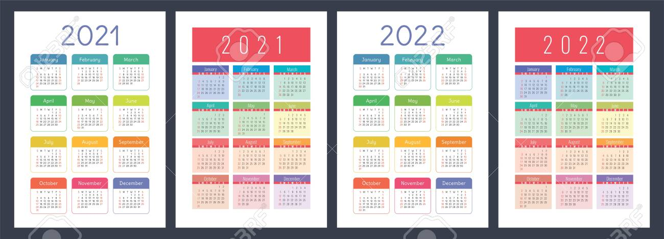 2022 Pocket Calendar.Calendar 2021 And 2022 English Color Set Vertical Wall Or Pocket Royalty Free Cliparts Vectors And Stock Illustration Image 150595427