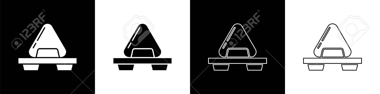 Set Sushi on cutting board icon isolated on black and white background. Asian food sushi on wooden board. Vector Illustration - 140691047
