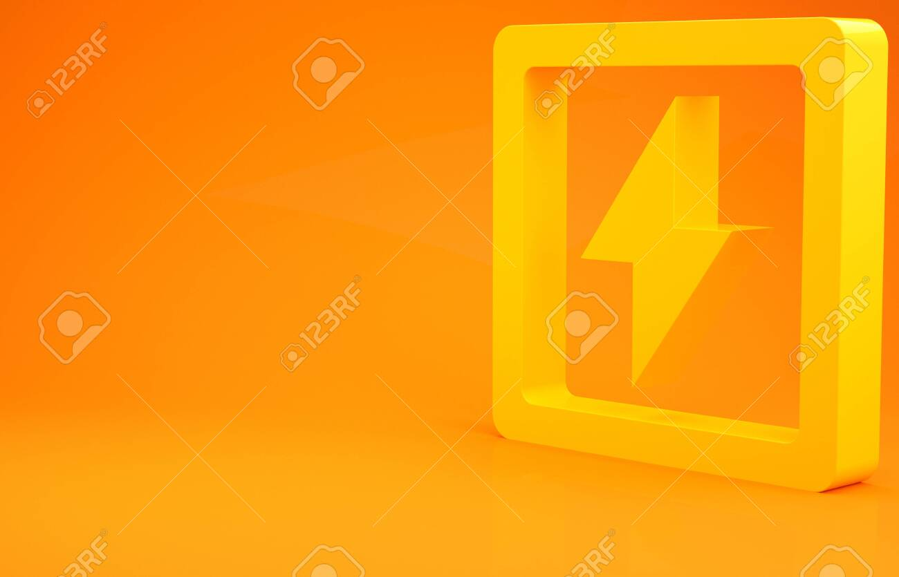 Yellow Lightning Bolt Icon Isolated On Orange Background Flash Stock Photo Picture And Royalty Free Image Image 141674435
