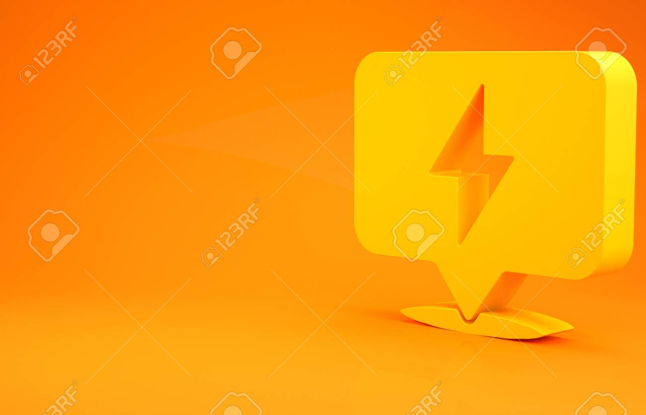 Yellow Lightning Bolt Icon Isolated On Orange Background Flash Stock Photo Picture And Royalty Free Image Image 141673804