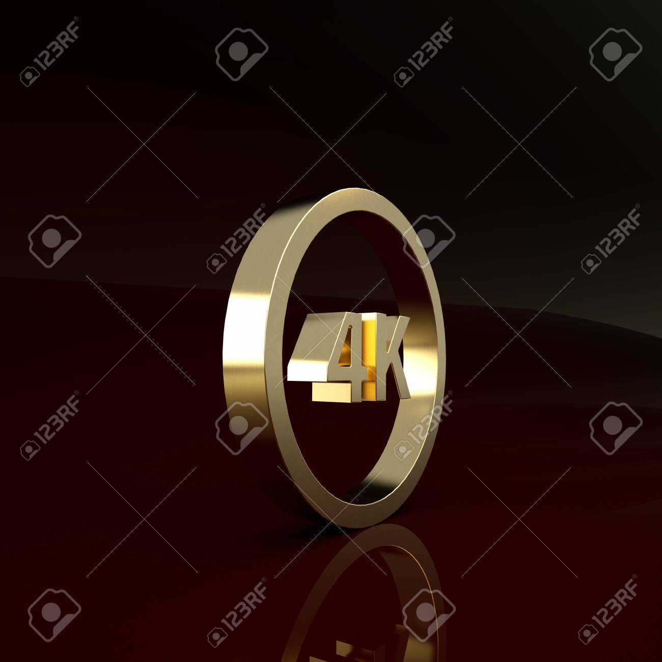 Gold 4k Ultra Hd Icon Isolated On Brown Background Minimalism Stock Photo Picture And Royalty Free Image Image 142190348
