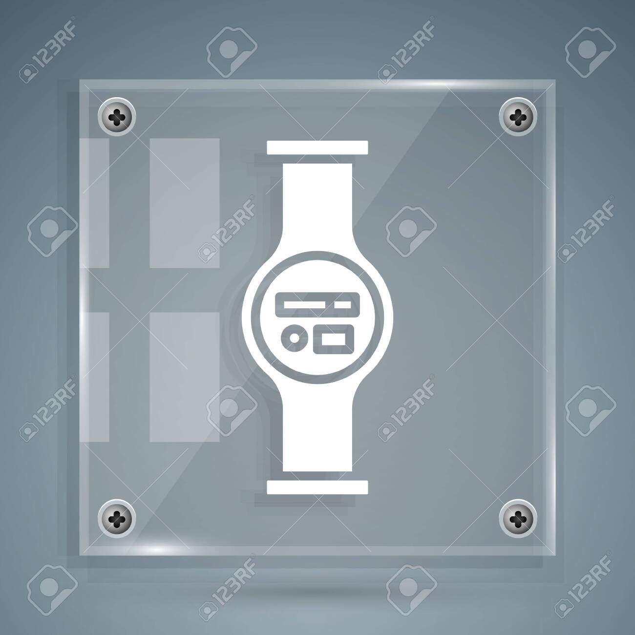 White Water meter with pipeline icon isolated on grey background. Square glass panels. Vector Illustration - 142212458