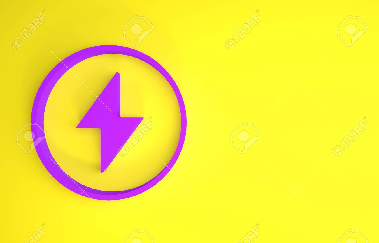 Purple Lightning Bolt Icon Isolated On Yellow Background Flash Stock Photo Picture And Royalty Free Image Image 143328774