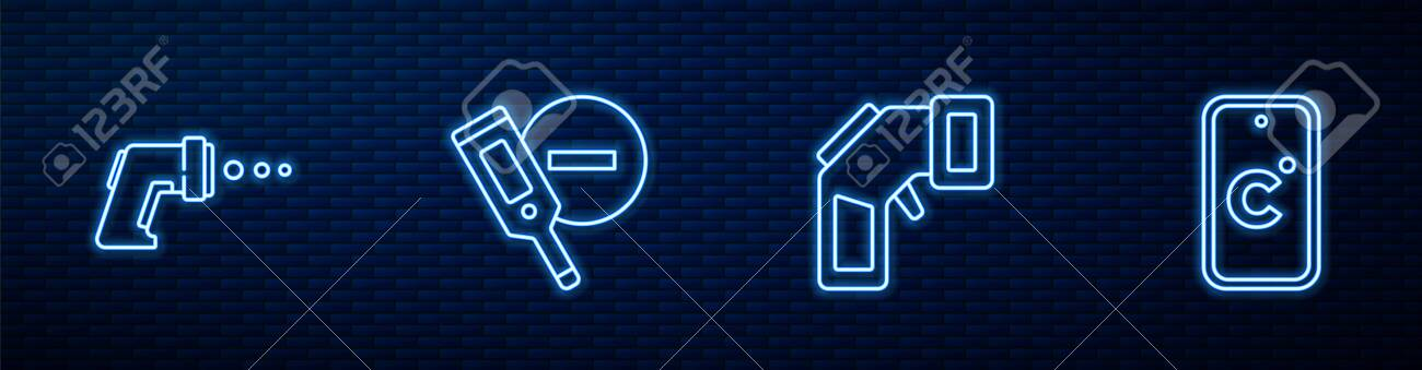 Set line Digital thermometer, , and Celsius. Glowing neon icon on brick wall. Vector - 157585677