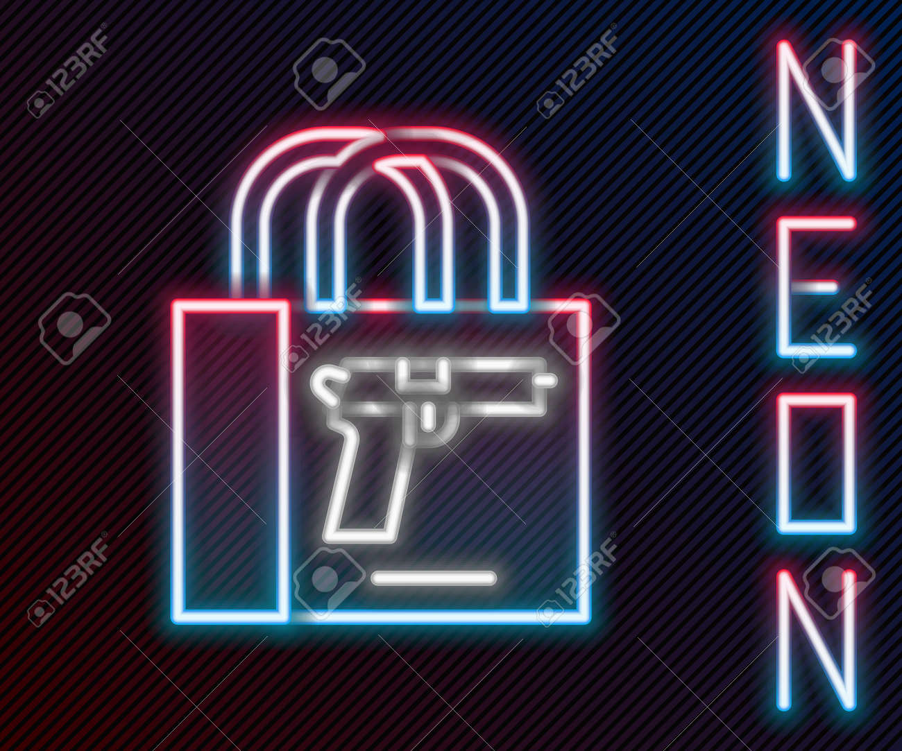 Glowing neon line Buying gun pistol icon isolated on black background. Buying weapon. Colorful outline concept. Vector - 158109523