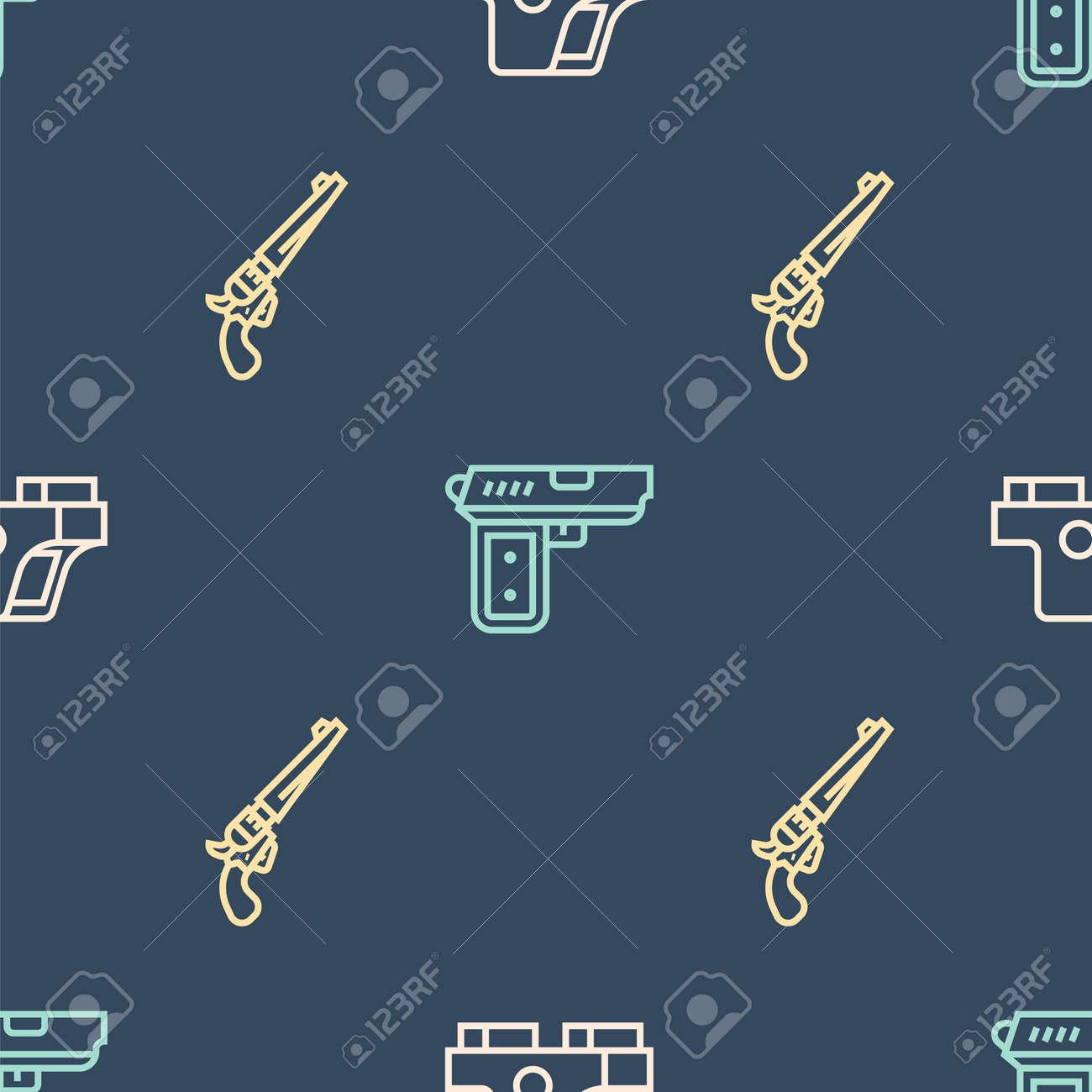 Set line Collimator sight, Revolver gun and Pistol on seamless pattern. Vector - 160042327