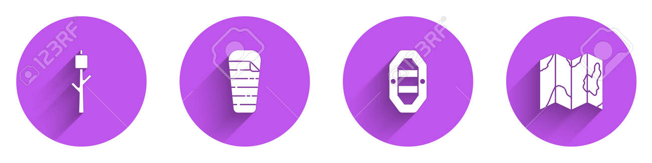 Set Marshmallow on stick, Sleeping bag, Rafting boat and Location of the forest map icon with long shadow. Vector - 162287765