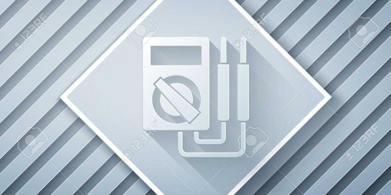 Paper cut Ampere meter, multimeter, voltmeter icon isolated on grey background. Instruments for measurement of electric current. Paper art style. Vector Illustration - 162608258