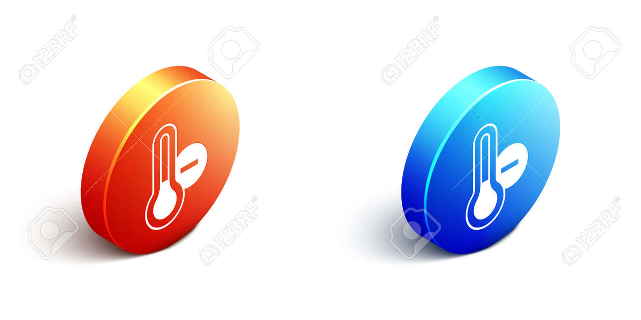 Isometric Meteorology thermometer measuring icon isolated on white background. Thermometer equipment showing hot or cold weather. Orange and blue circle button. Vector - 167930546