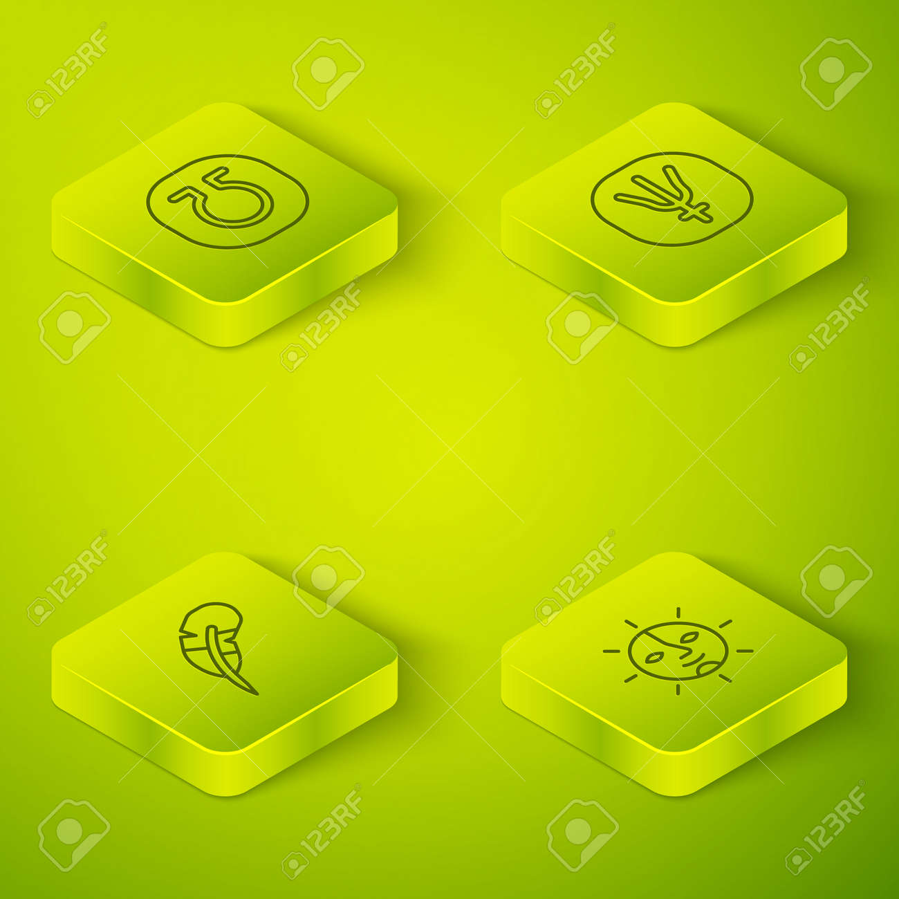 Set Isometric line Neptune planet, Feather pen, Sun and Life icon. Vector - 168491320