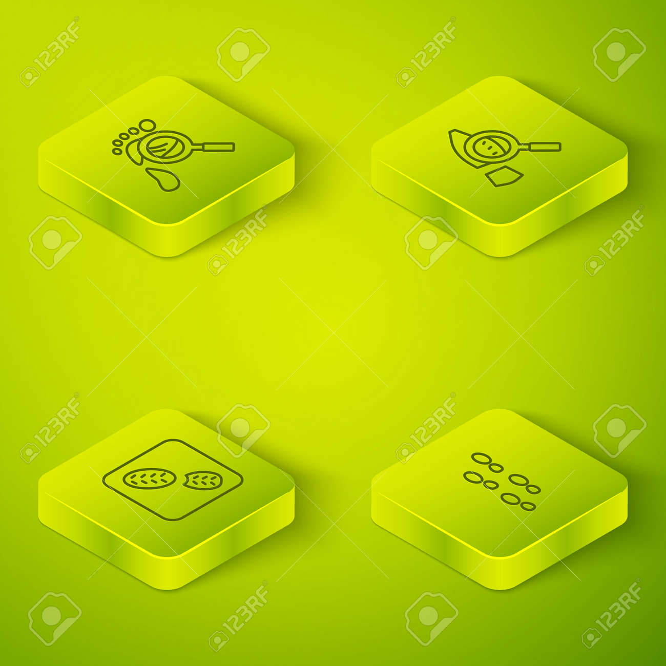 Set Isometric line Magnifying glass with footsteps, Human footprints shoes, and icon. Vector - 168491263