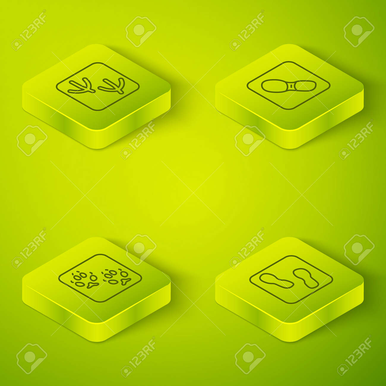 Set Isometric line Human footprints shoes, Fox paw, and Dove icon. Vector - 168491266