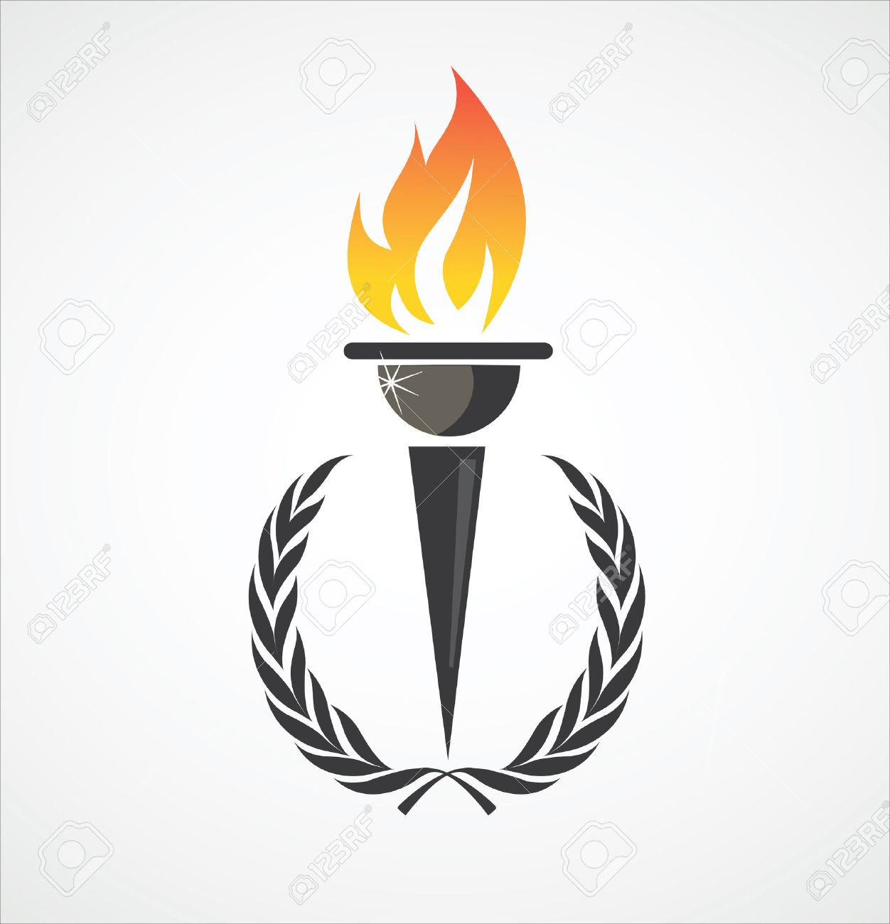 Flaming Torch In Laurel Wreath For Sports Design Royalty Free ... for sports torch logo  45ifm