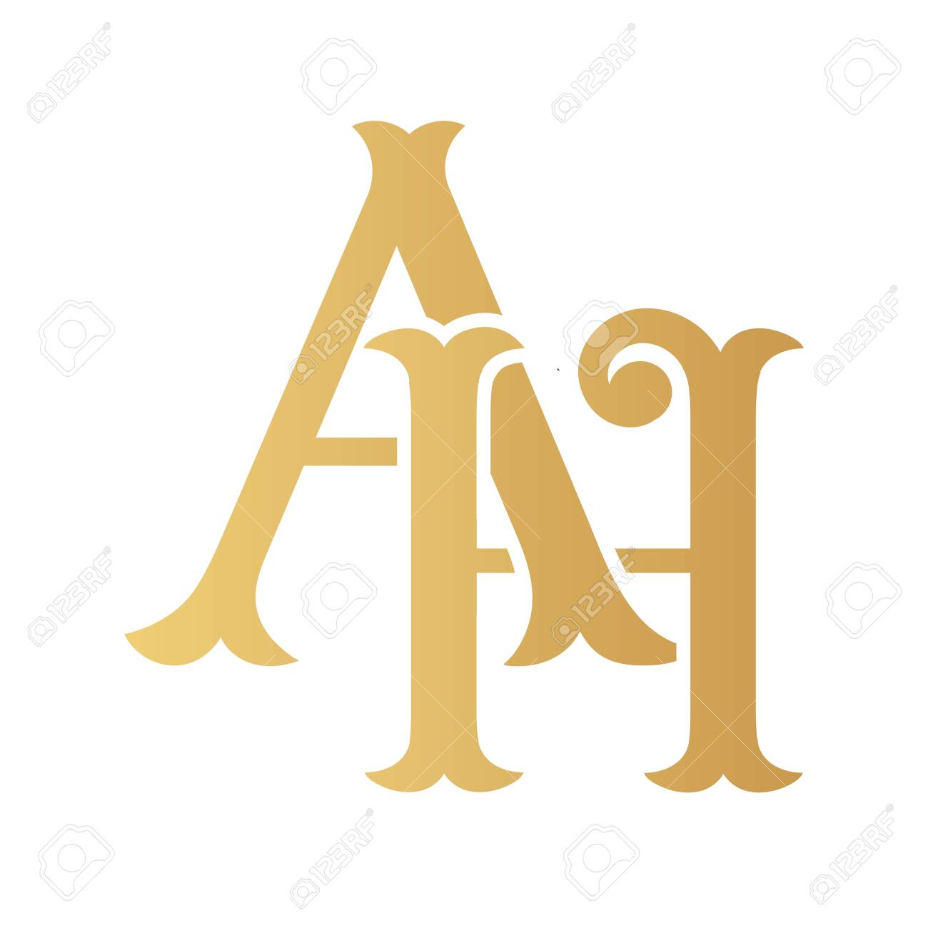Golden Ah Monogram Isolated In White Royalty Free Cliparts Vectors And Stock Illustration Image 136228786