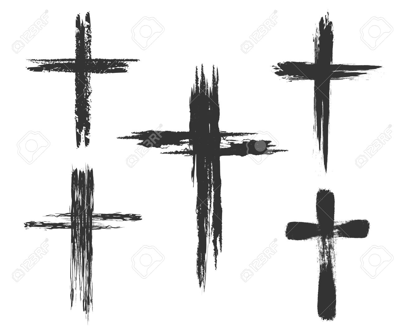 Hand drawn christian cross signs. Brush painted cross icons. Vector illustration - 53083647